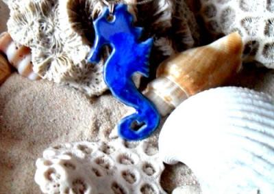 seahorse blue pendant
